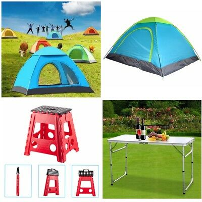 Pop Up Camping Tent 3-4 Person Folding Camping Table Stool Travel Hiking Outdoor