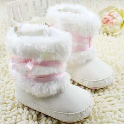 Infant Baby Boys Girls Winter Warm Booties Slippers Bowknot Boots Crib Shoes