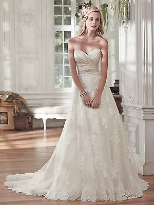 New w. Tags Maggie Sottero Kamiya a-line Lace Gown Dress Ivory Champagne US 10