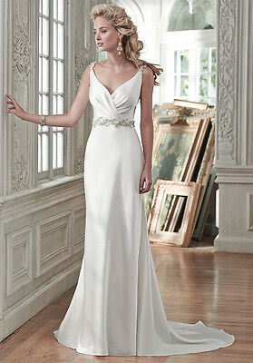 New Maggie Sottero Montana Satin Crystal embellished Gown Dress Ivory  SZ 8 US