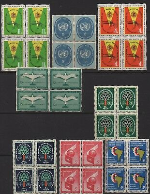 UNITED NATIONS Stamps - 8x Stamp Blocks MUH