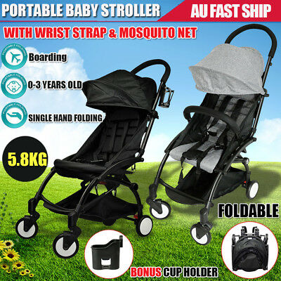Baby Stroller Pram Compact Lightweight Travel Carry on Easy Foldable 4 Wheel AU