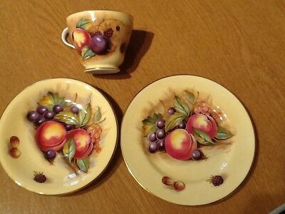 Aynsley bone china cup saucer and side-plate Orchard patten