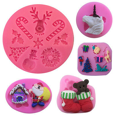 Merry Christmas Cookies Candy Decor Chocolate Baking Cake Cutter Silicone Mold