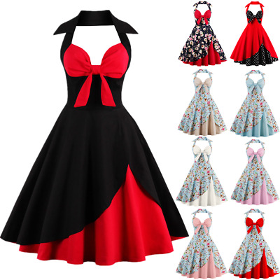 AU Womens 1950s Floral Rockabilly Vintage Halter Style Evening Prom Swing Dress