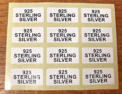 925 STERLING SILVER Jewellery Label Sticker 20mmx10mm Silver or Black on White