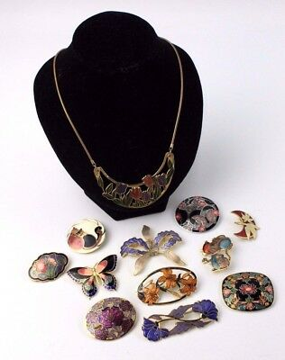 Lot of CLOISSONE Enamel Mixed FLORAL & ANIMAL Theme Costume Jewellery, Brooches