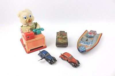 Collection of 5x Vintage TIN PLATE Toys inc. Key Wind-up Cars WORKING CONDITION