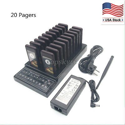 Restaurant 20 Pagers Coaster Wireless Coaster Guest Waiter Queuing System US