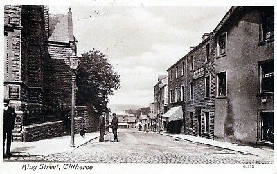 Postcard - View in King Street, Clitheroe, Lancashire - posted in 1914.