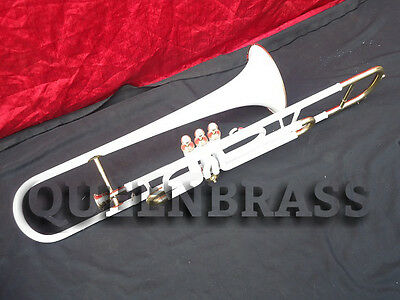 """TROMBONE""""VALVE-BB-PITCH-Beginner-COME-WITH-MP-HARD-CASE""""WHITE PAINTED BRASS"""