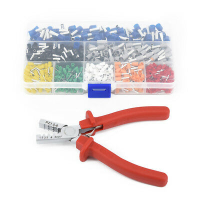 Ferrule Tool Crimper Plier for 0.25~6.0mm Crimping Cable End-sleeve+800xTerminal