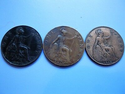 George V Uk Pennies. 1911, 1913 & 1918. Great Condition.