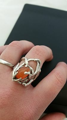 Mexican Fire Opal Handmade ring, Opal statement ring