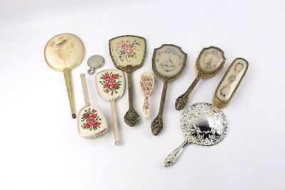 2x Vintage Vanity Hand Mirrors and Brushes Base Metal MIXED Designs