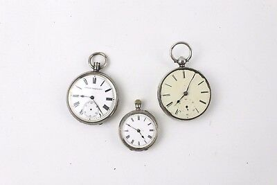3x Vintage & Antique POCKET WATCHES With Silver Cases inc CHESTER 1848 - REPAIRS