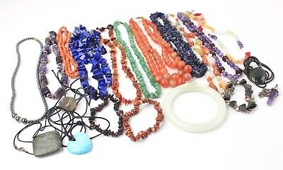 Collection of Mixed SEMI-PRECIOUS Gemstone & Bead Jewellery Necklaces, Bracelets
