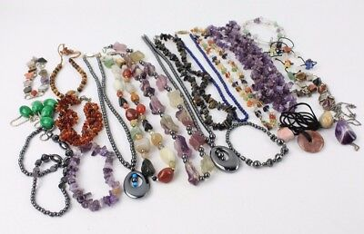 Collection of Mixed SEMI-PRECIOUS Gemstone & Bead Jewellery Bracelets, Necklaces