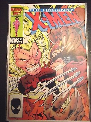 Uncanny X-Men #213 Sabretooth vs Wolverine VG