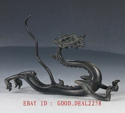 Old Chinese Bronze Hand Made Dragon Statue QT067