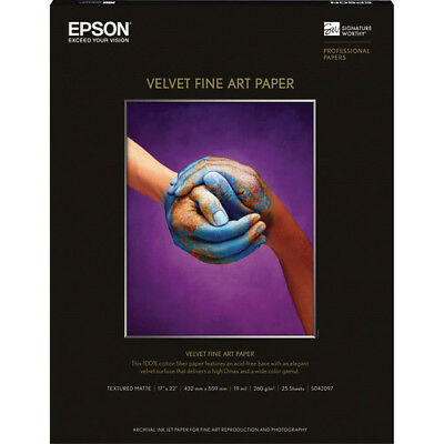 "Epson S042097 Velvet Fine Art Paper - 17"" x 22"" Sheet Size - 100% Cotton"