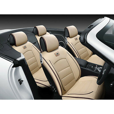 Top Deluxe 5 Seats PU Leather Car Seat Covers Sedan SUV Front+Rear Full Pillows