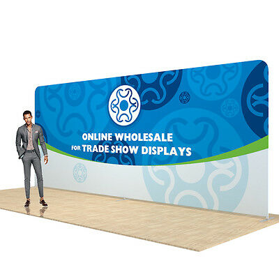 20ft Straight Pop Up Display Back Wall Fabric Tension Trade Show Display, Single