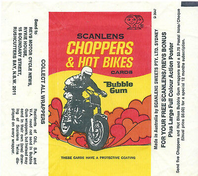 Scanlens - Chopper and Hot Bikes - Card Wrapper - 1974 - NO TEARS / RIPS