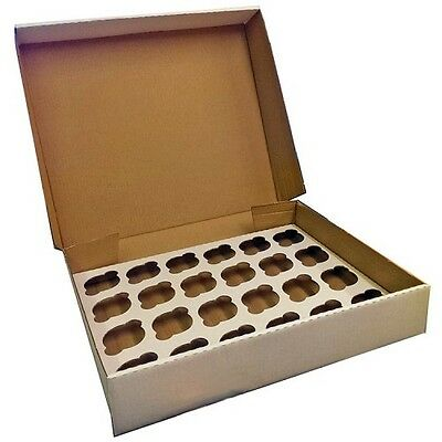 24 Hole Strong Corrugated Cupcake Box with Insert tray Pack of 5