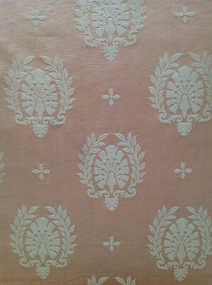 Antique French Silk Brocade Neo Classical Fabric in Salmon