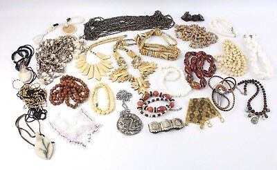Large Lot TRIBAL / STATEMENT Costume Jewellery inc. BONE, Bead, Shell, Metal