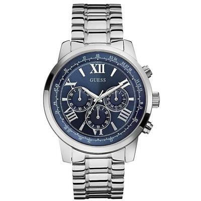 Guess HORIZON Men's 45mm Chronograph Silver Steel Bracelet & Case Watch W0379G3