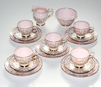 Tuscan China, 17 Piece Tea Set, Pink Floral.