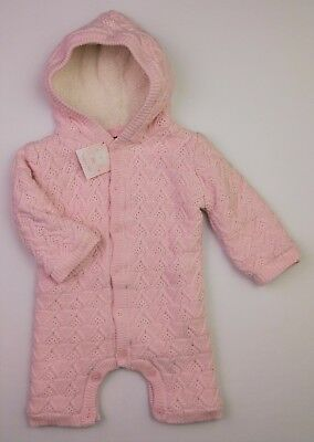 Baby Girls Pink Knitted Fleece Lined Pramsuit/Snowsuit All in One 3-6 Mths BNWT