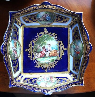 "Beautiful Sevres style Porcelain Bowl Marked approx 8"" diameter"