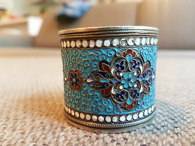 Very nice 19 c. Russian silver 84 cloisonne-enamel napkin ring, 52 grams!