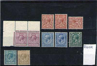 Gb King George V Block Cypher Mint Stamps 1924 - 1926 With Shades