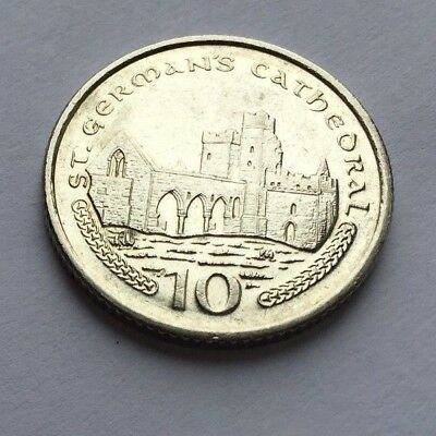 ISLE OF MAN St German's Cathedral church PEEL10p COIN ISSUED 2003, CIRCULATED