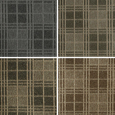 Cheap Loop Pile Tartan Pattern Carpet Felt Backed Hardwearing Bedroom Stairs