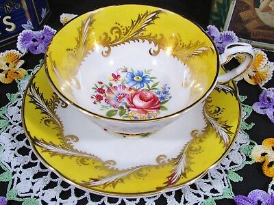Paragon Pink Rose Floral Fancy Gold Yellow Tea Cup And Saucer