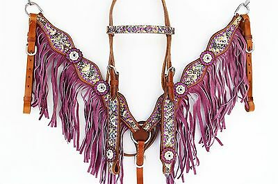 Purple Snake Western Leather Show Bridle And Breastplate Set