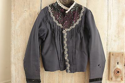 Antique Victorian French bodice shirt woman's blouse c1890 lace