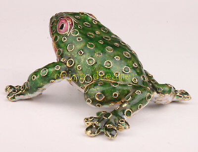 Large Cloisonne Frog Realistic Statue Adorn Presents Collectable Old