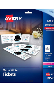 """Avery Printable Tickets W/ Tear Away Stubs Matte White 200 Count 1 3/4 """"x 5 1/2"""""""