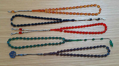 Lot of 5 collectible Amber Bakelite Prayer Worry Beads Tasbih Tasbeh 925k silver