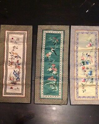Vintage Lot Asian Chinese Silk Satin Embroidered Wall Hanging Panel Fabric