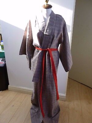 Unbranded Authentic Oriental KIMONO textured checked  gown/robe & belt one size
