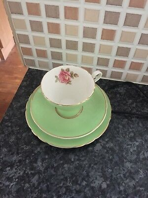 Vintage Aynsley England Bone China Trio Pink Rose (Second?) (one of a kind!!!)