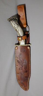 Bowie Hunting Knife Solingen Crown Stag Handle Custom Sheath Art by Renwa