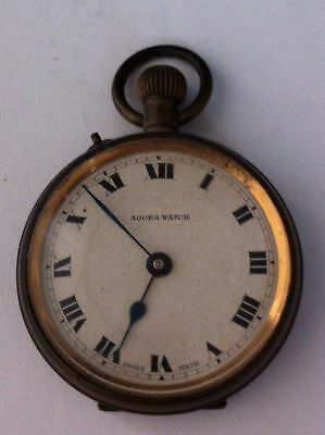 Vintage Agora Brass Pocket Watch For Repair Or Spares Ornate Back